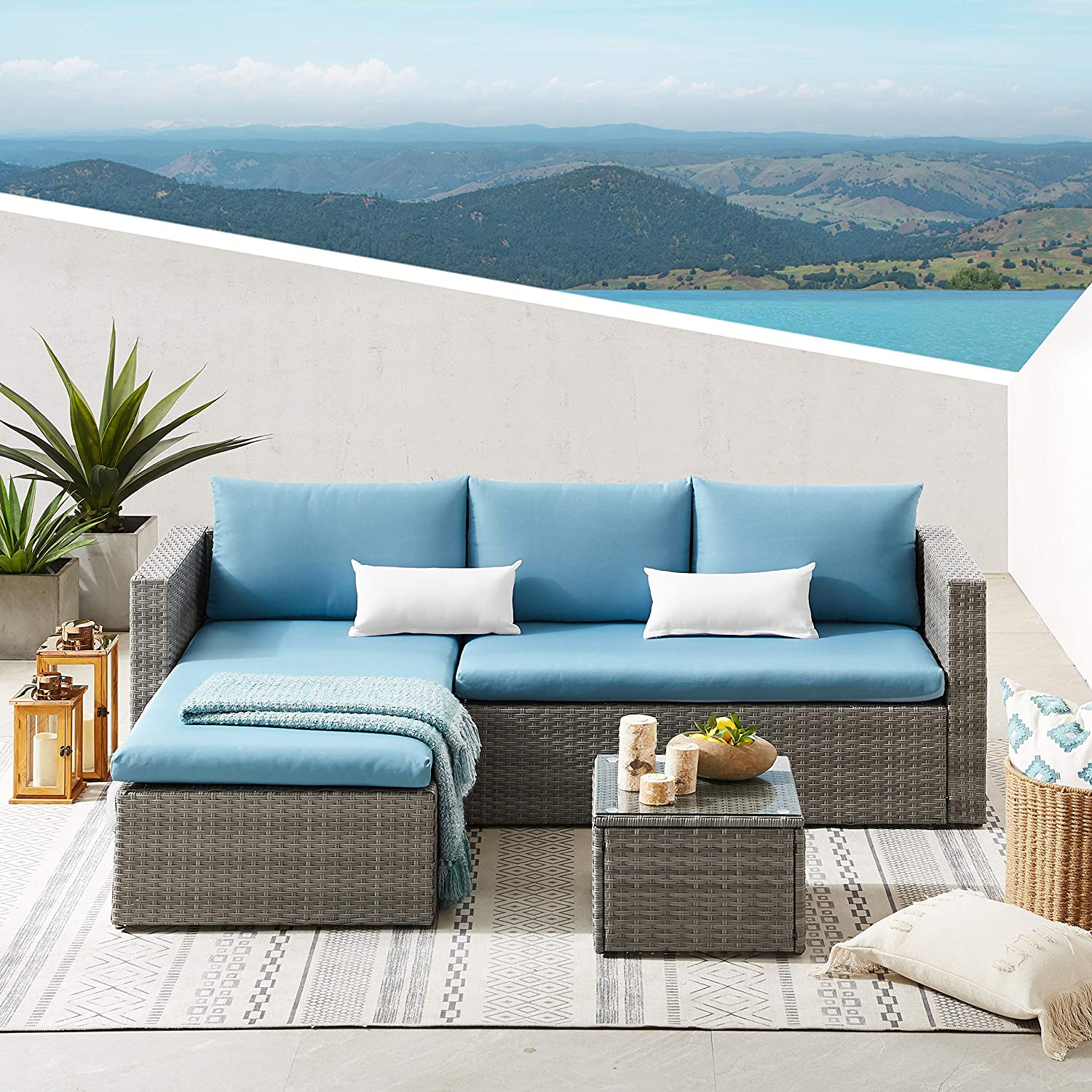 Volans 3 Pieces Patio Furniture All Section Outdoor Weather Washington Mall Set Max 58% OFF