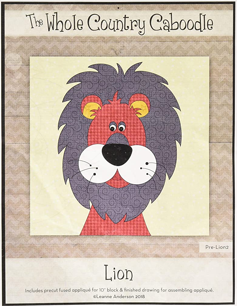 Whole Country Caboodle WCCPRELION2 Lion Head Precut Fused Applique Pack Pattern