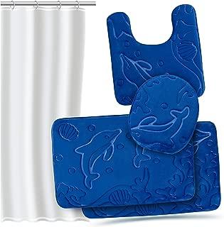 Effiliv 4 Piece Bathroom Rugs Set - Memory Foam Bath Mats, Extra Soft + Shower Liner, Blue