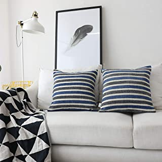 Kevin Textile Best Decorative Striped Warm Linen Bottom Chenille Jacquard Pillow Case Simple Style Throw Cushion Cover for Chair/Bedroom, 18