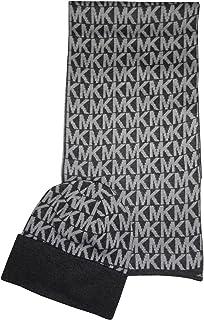 Michael Kors Women's MK Logo Knitted Scarf & Beanie Hat Set, Derby Grey, One Size