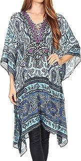Sakkas Kristy Long Tall Lightweight Caftan Dress/Cover Up with V-Neck Jewels