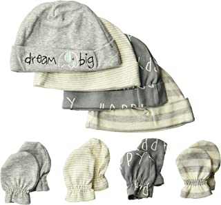 Baby Boys' 8-Piece Organic Cap and Mitten Set