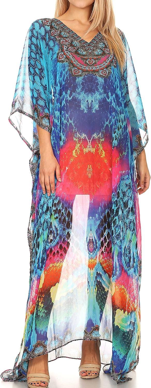 Sakkas Wilder Printed Design Long Sheer Rhinestone Caftan Dress/Cover Up