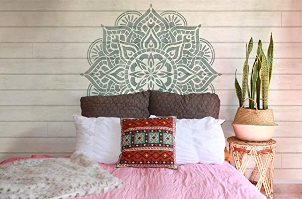 Prajna Mandala Stencil Mandalas Design For Painting Large Wall Mural Decal Boho Indian Buddhist Asian Jungalow Bohemian Decor X Large 24 X 45 Half Repeat