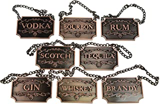Copper Liquor Decanter Tags / Labels Set of Eight - Whiskey, Bourbon, Scotch, Gin, Rum, Vodka, Tequila and Brandy - Copper Colored - Adjustable Chain Fits Most Bottles (Copper)
