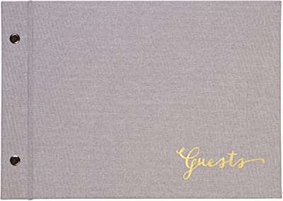 C.R. Gibson Gray ''Guests'' Picture Guest Book and Photo Album, 60 Pages, 9.6'' W x 6.9'' H