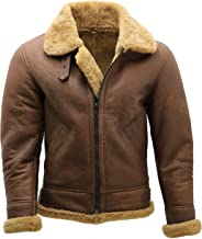 Infinity Men's Brown B3 Shearling Sheepskin WW 2 Bomber Leather Flying Aviator Jacket