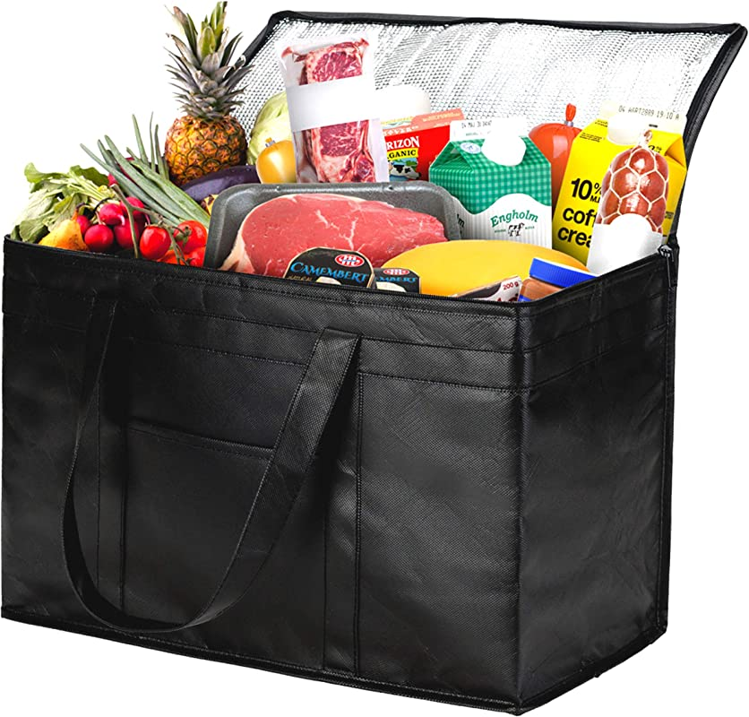 NZ Home XXL Insulated Grocery Bag Sturdy Zipper Top Collapsible Heavy Duty Stands Upright Jumbo Size Tote Ideal For Large Grocery Shopping Food Delivery Catering Bag 1 Bag Black