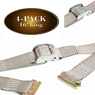 """Four 2"""" x 16' E Track Strap, Durable Cam Buckle Cargo TieDown, Heavy Duty Grey Polyester Tie-Down Cam Strap, ETrack Spring..."""