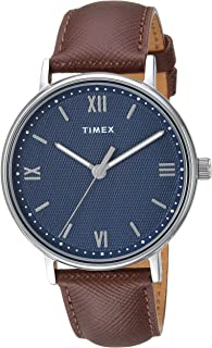 Timex Men's TW2T34800 Southview 41 Brown/Silver/Blue Leather Strap Watch