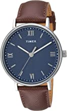 Timex Men's TW2T34800 Southview 41mm Brown/Silver/Blue Leather Strap Watch