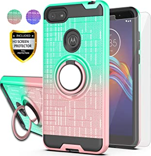 AYMECL Moto E6 Play Case with HD Screen Protector, Ring Holder Gradient Dual Layer Protective Case for Motorola Moto E6 Play 5.5 inch-BG Mint&Rose Gold