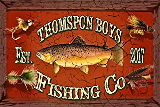 Tin Shop Signs | Vintage Fishing Co. Sign I Personalized for Your Specific Needs | Metal Rectangle 12 x 18 inches