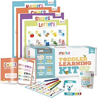 merka Toddler Learning Kit - Includes 4 Posters, 58 Flashcards, 58 Practice Book Exercises
