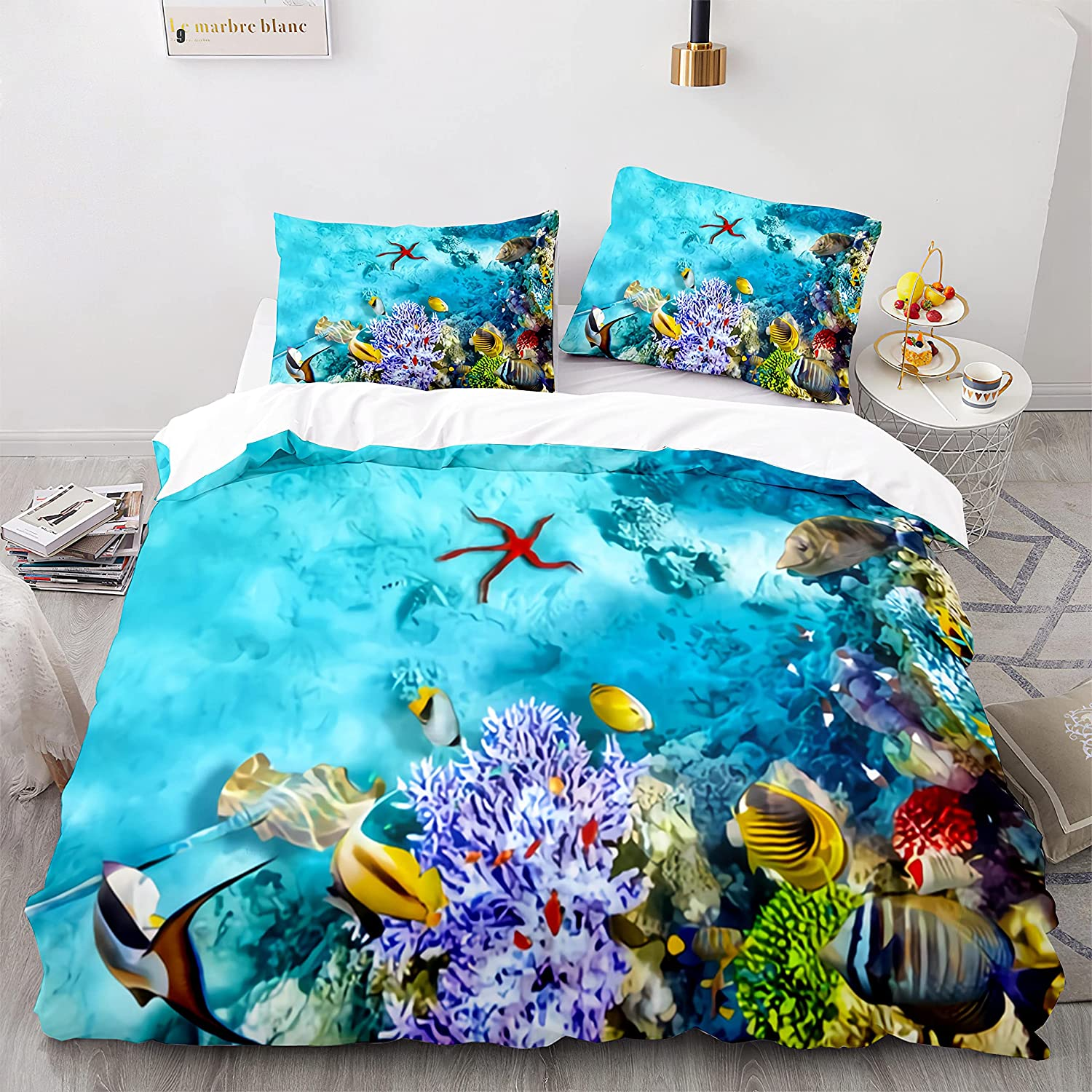 HMT NF Underwater World Marine Life 2021 autumn and winter new Blue Dallas Mall Twin O Set Size Bedding