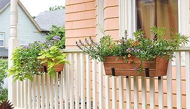 Achla Designs SFB-02 Wall-Mount, 8 inch Flower Window Box Planter Brackets, 8-inch, Black