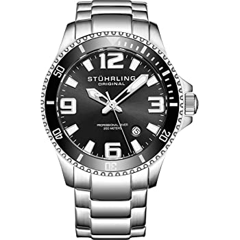 Stuhrling Original Mens Swiss Quartz Stainless Steel Sport Analog Dive Watch, Water Resistant 200 Meters, Black Dial, Aqua-Diver