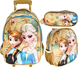 3D FROZEN SCHOOL TROLLEY BAG WITH BACKPACK FOR KIDS GIRL 18 INCH INCLUDE LUNCH BAG AND PENCIL POUCH