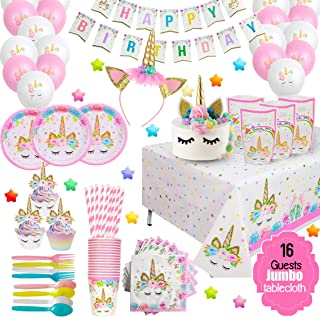 ecoZen Lifestyle Ultimate Unicorn Party Supplies and Plates for Girl Birthday | Best Value Unicorn Party Decorations Set f...
