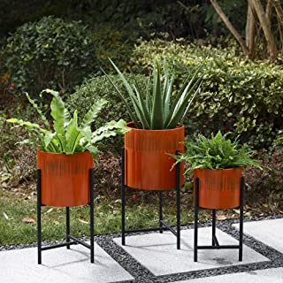 Glitzhome Mid Century Plant Stand with Pot Set of 3 Modern Metal Planters with Stands Flower Pot Holders Perfect for Indoo...