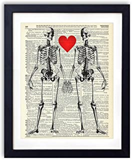 Skeleton Love Upcycled Vintage Dictionary Art Print Bedroom Decor Wall Art 8x10