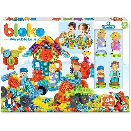 BLOKO – Coffret de 100 BIoko avec 4 Figurines 3D Famille – Dès 12 Mois - Fabriqué en Europe – Jouet de Construction 1er âge – 503627