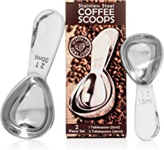 Coffee Scoop Set - Stainless Steel Measuring Spoons - Perfect Accessories for an Accurate Measure of Tea, Sugar, Ground Coffee and Whole Bean - 1 and 2 Tbsp Scooper by Hearth and Home Goods
