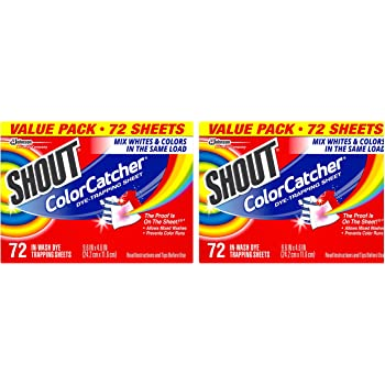 Shout Color Catcher Sheets for Laundry, Maintains Clothes Original Colors, 72 Count - Pack of 2 (144 Total Sheets)