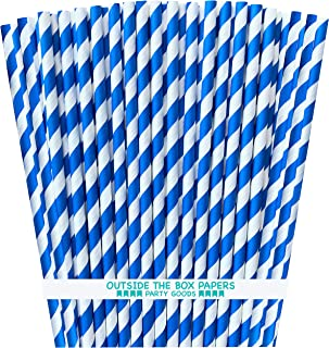 Striped Paper Straws - Royal Blue and White - 7.75 Inches - 100 Pack - Outside the Box Papers Brand