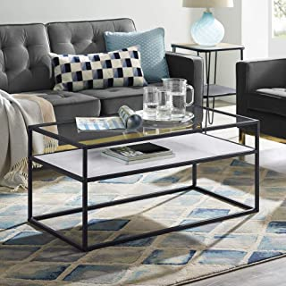 WE Furniture AZ40SWICTWMDC Modern Reversible Shelf Rectangle Coffee Accent Table Living Room, 40 Inch, White Marble, Grey Concrete