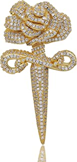 TOPGRILLZ 21 Savage Sword and Rose Pendant Necklace 14K...