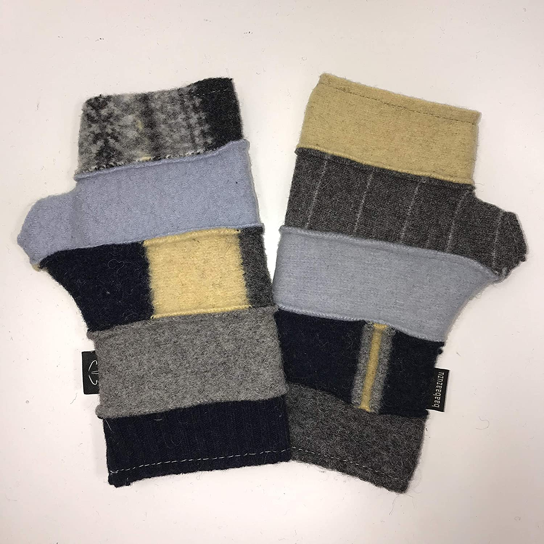 Baabaazuzu Yellow Blue Free Shipping Cheap Bargain Gift Gray Women's Gorgeous Wool Fingerless Upcycled