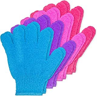 DecorRack Exfoliating Shower Gloves for Men and Women, Removes Dead Dry Skin from Body, Face, and Feet for Bath, Shower, S...