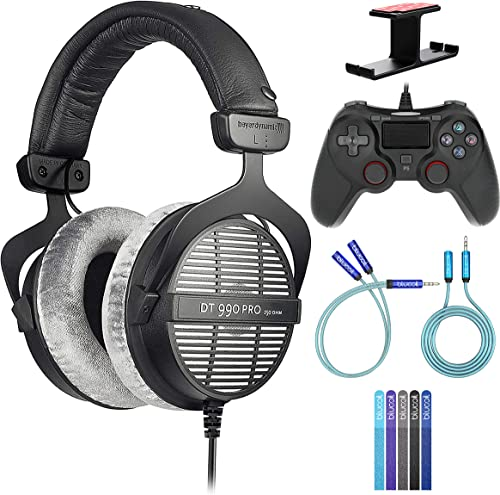 Beyerdynamic 459038 DT 990 PRO Open Studio Headphones Bundle with Blucoil USB Gaming Controller for Windows/Mac/PS4, Y Splitter Cable, 6' 3.5mm Extension Cable, Headphone Hook, and 5X Cable Ties