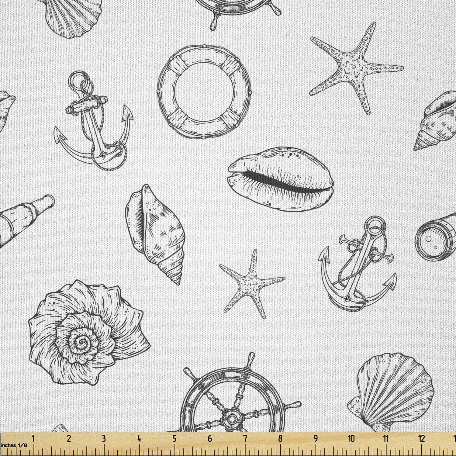 Ambesonne Surprise price Sea Shells Fabric by The Hand Monochrome Beauty products Drawn Yard N