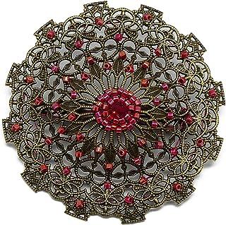 Retro cuore spilla cuore giapponese tessitura perline rosso 5,5cm regali personalizzati regalo di Natale anniversario ceri...