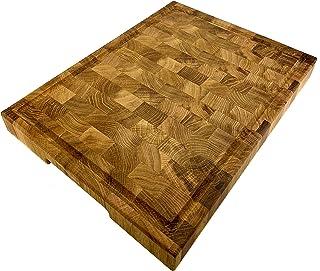 Planche à découper en chêne massif avec rainure à jus et poignée creuse (40 x 30 x 4 cm)
