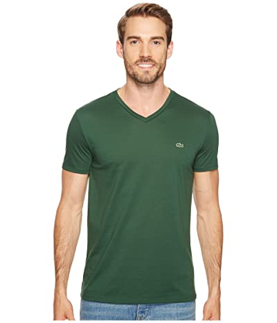 Lacoste Short Sleeve Pima Jersey V-Neck T-Shirt (Green) Men