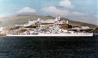 Home Comforts The U.S. Navy Battleship USS Oklahoma (BB-37) Passing Alcatraz Prison, San Francisco Bay, California Vivid Imagery Laminated Poster Print 24 x 36