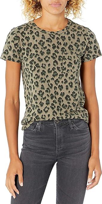 Lucky Brand Women's Short Sleeve Crew Neck Leopard Print Pocket Tee