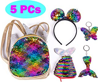 Figoal Deluxe Unicorn Backpack Flip Sequin Bags Mermaid Tail Flip Sequin Keychain Butterfly Key Ring Headband Girls Accessories Party Supplies Favors Birthday Party Events Rainbow