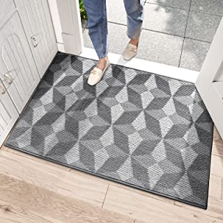DEXI Dirt Trapper Door Mat,Non-slip Doormat Super Absorbent Entrance Rug Machine Washable Floor Mat for Hallway,Entryway,I...