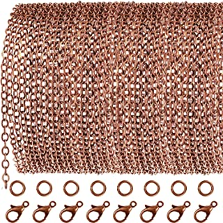 TecUnite 33 Feet Antique Red Copper Chain Link Necklace with 30 Pieces Jump Rings and 20 Pieces Clasps for DIY Jewelry Making (1.5mm)