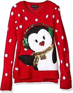 Girls' Big Earmuff Penguin Xmas Sweater
