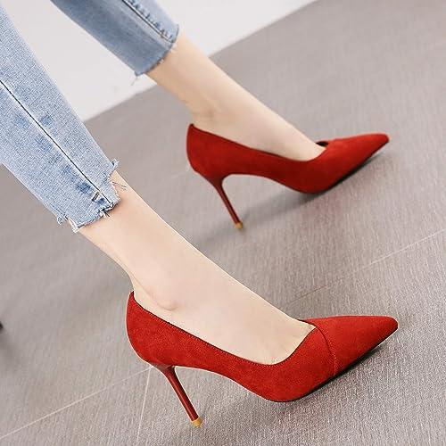 HRCxue zapatos de la Corte Joker, zapatos de Trabajo de Gamuza Negra con Punta, Tacones de Aguja Delgados, zapatos de mujer, 35, rojo óxido