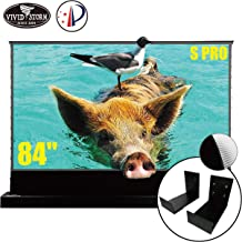 VIVIDSTORM S PRO Ultra Short Throw Laser Projector Screen,Black Housing Motorized Floor Rising Screen 84 inch Ambient Light Rejecting Screen with a Set of Black Wall Brackets VSDSTUST84H
