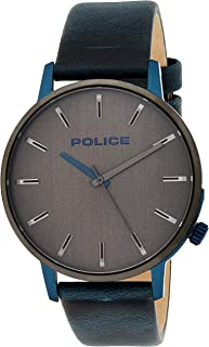 Police Marmol Men's Grey Dial Leather Band Watch - P 15923JSBLU-13