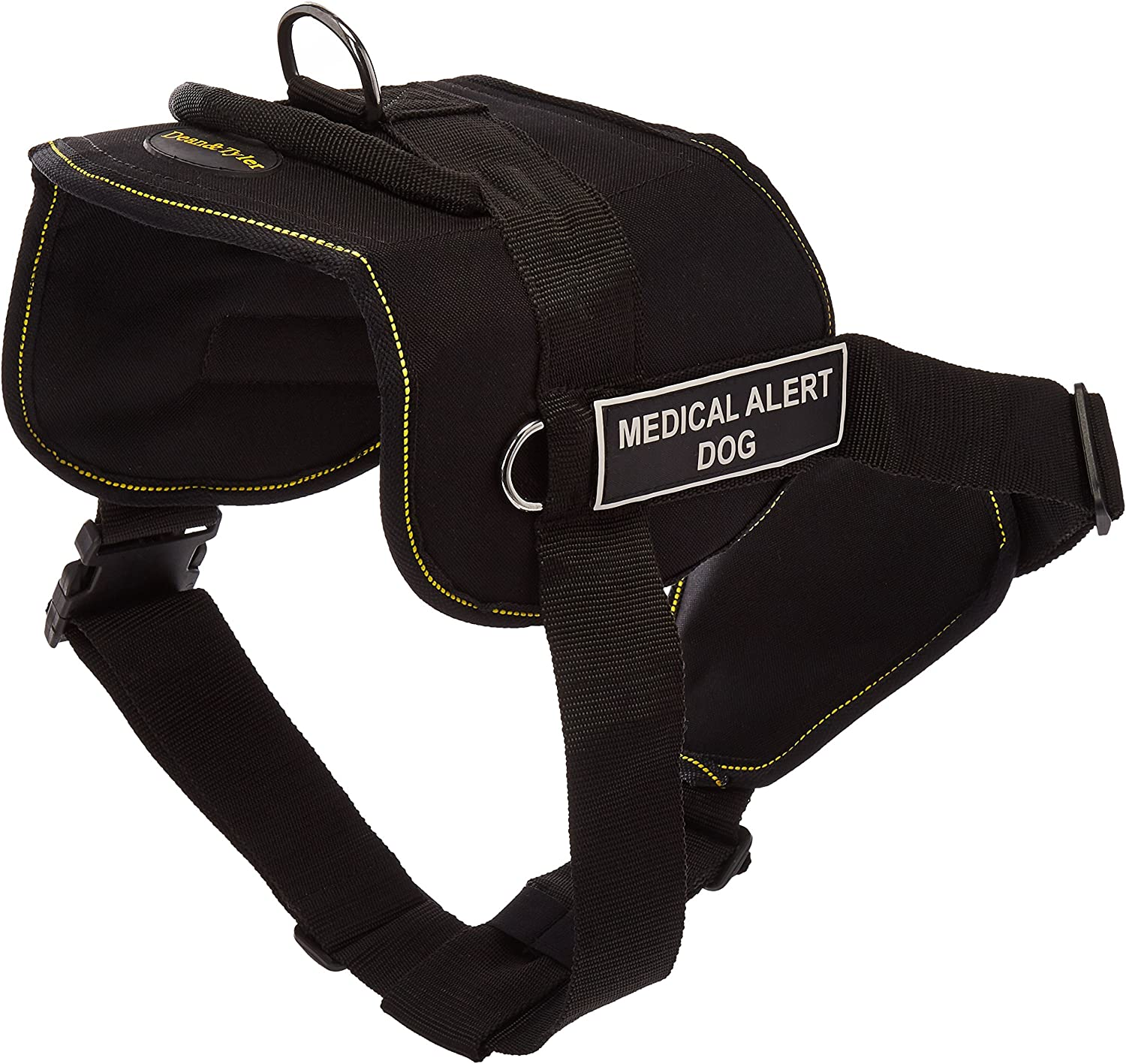 Dean & Tyler Black with Yellow Trim Fun Dog Harness with Padded Chest Piece, Medical Alert Dog, XLarge, Fits Girth Size 34Inch to 47Inch