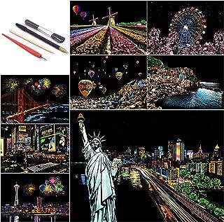 BOTEEN Rep- och skiss konstpapper A4, regnbåge repor målning nattvy konst & hantverk kit (ny förpackning och mönster), skr...